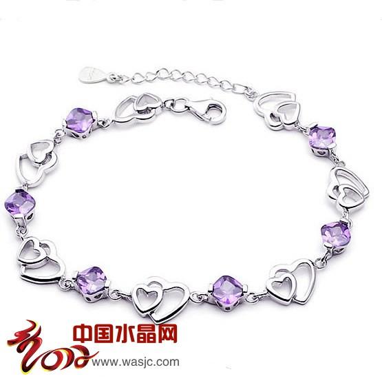 紫水晶手链 心心相扣手链 女手饰品锆石 女 韩版时尚 情人礼物