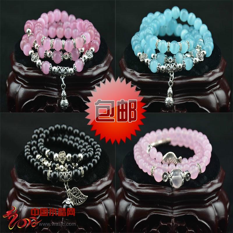 天然玛瑙水晶手链 女 多层手链 韩版时尚多圈串珠 猫眼石手链包邮