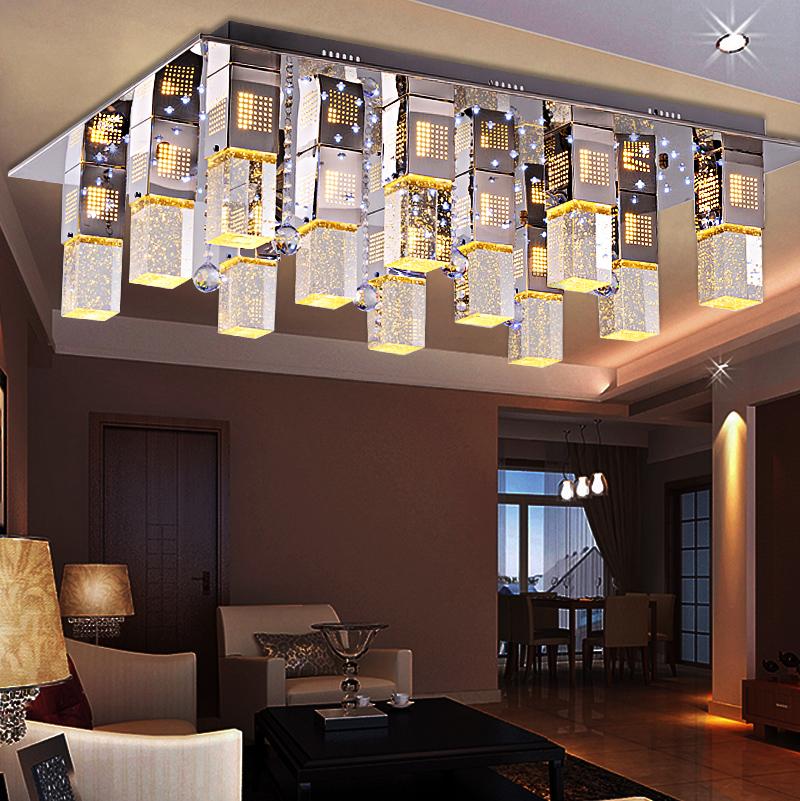 现代简约led客厅灯水晶吸顶灯长方形餐厅灯饰水晶卧室灯具